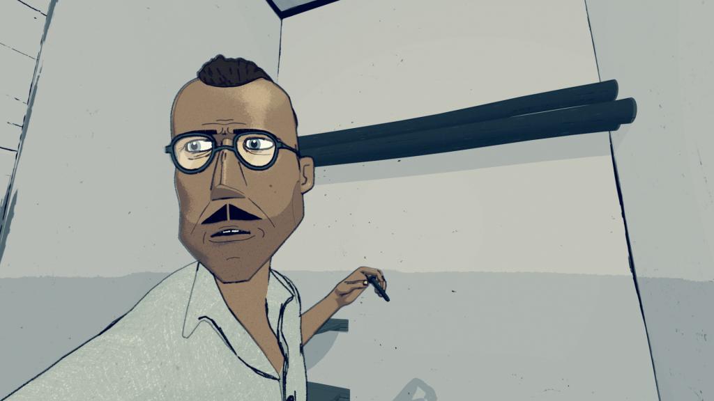 'Codetaal', still 3 uit de animatie 'Leven in het Oranjehotel', geproduceerd door Motoko