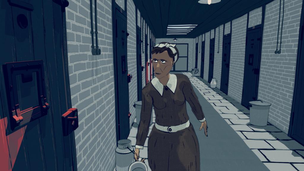 'Water dragen', still 4 uit de animatie 'Leven in het Oranjehotel', animatie door Motoko