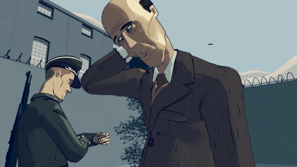 'De luchtruimte', still 5 uit de animatie 'Leven in het Oranjehotel', animatie door Motoko
