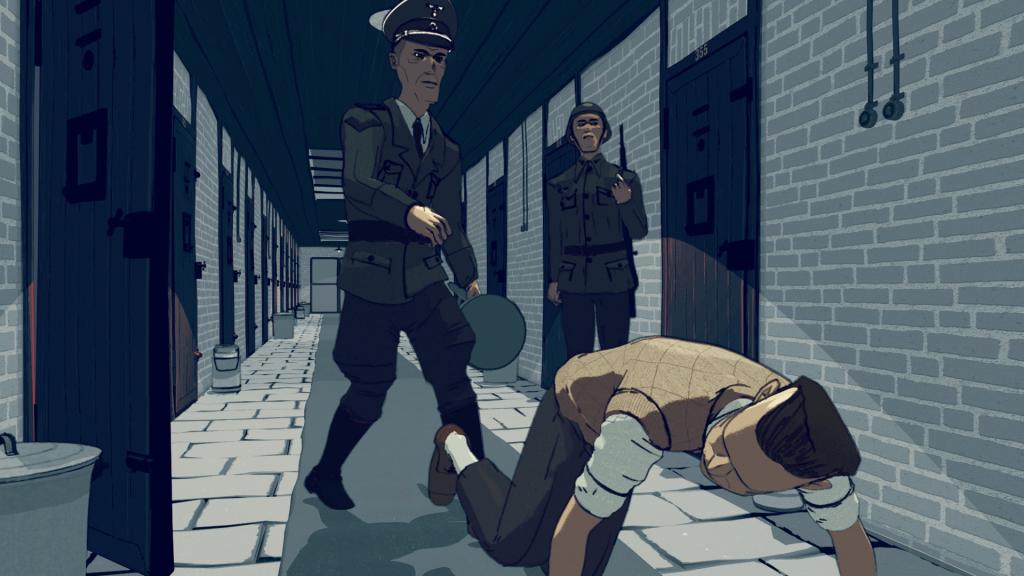 'Marteling', still 6 uit de animatie 'Leven in het Oranjehotel', animatie door Motoko