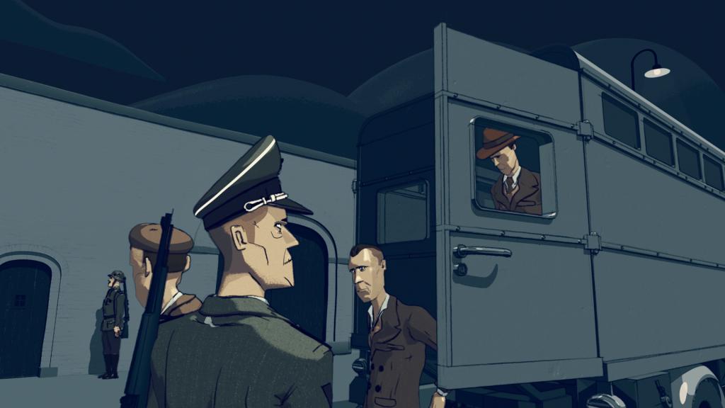 'De gevangenen', still 1 uit de animatie 'Leven in het Oranjehotel', geproduceerd door Motoko