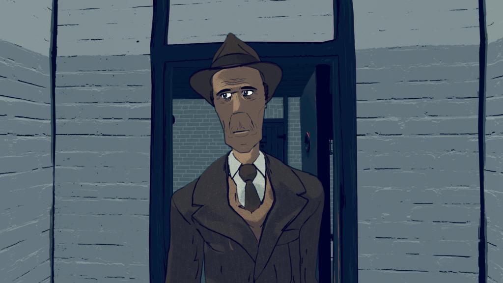 'De nieuwkomer', still 2 uit de animatie 'Leven in het Oranjehotel', geproduceerd door Motoko