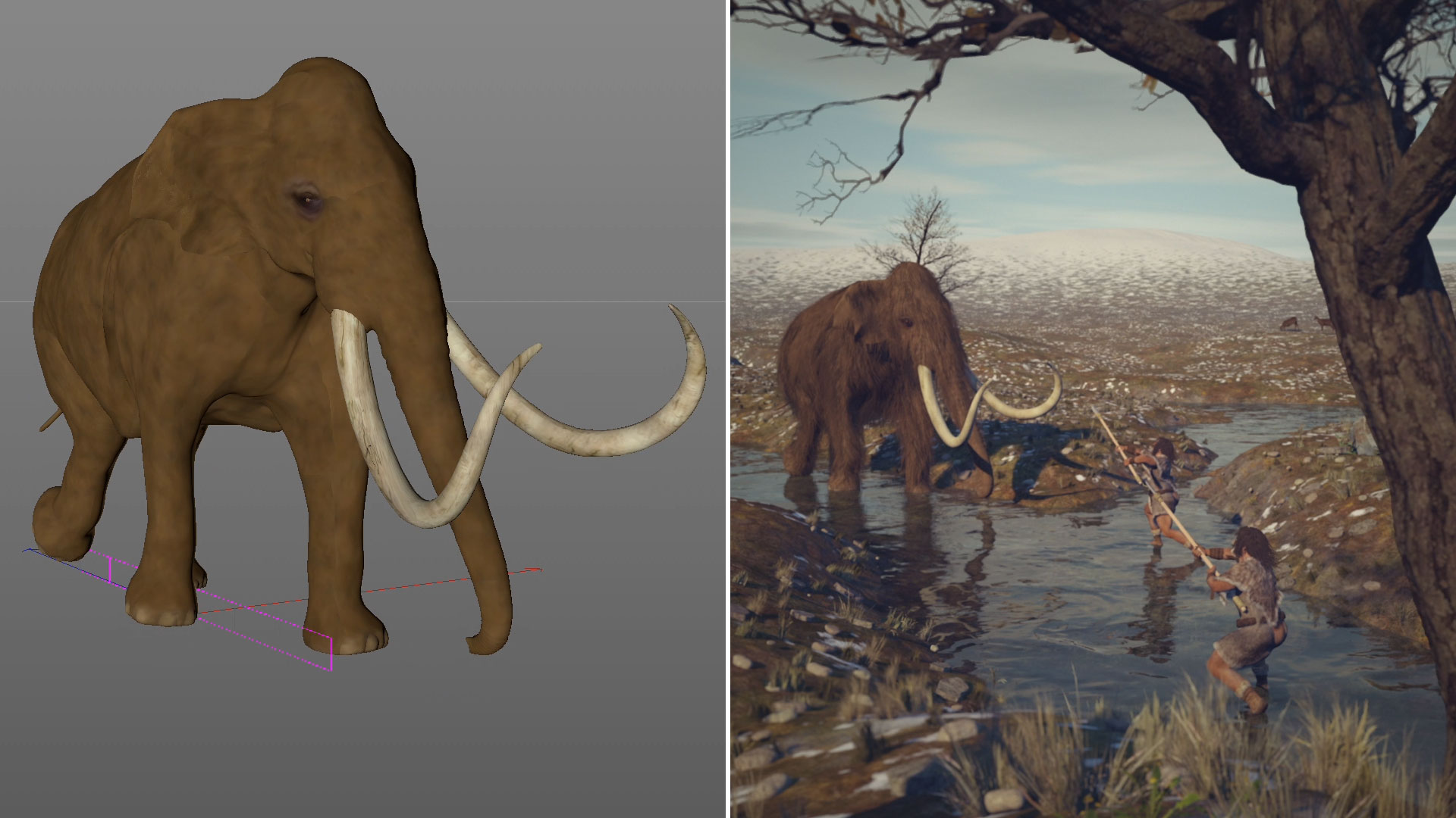 Development of the character animations: left is the rough animation, right is the final result.